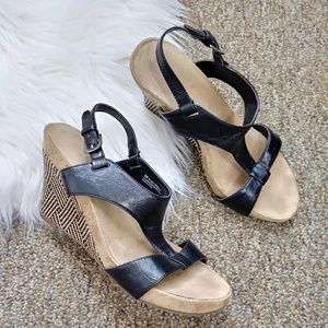 Aerology Black Brown Woven Wedge Sandals